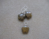 Bronzite earrings and pendant set