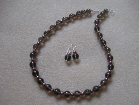 Smoky quartz and freshwater pearls set