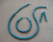 Turquoise and freshwater pearls set