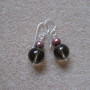 Smoky quartz and freshwater pearls earrings