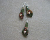 Unakite, red jasper, freshwater pearls earrings and pendant set