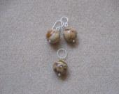 Picture jasper earrings and pendant set