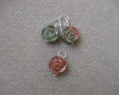 Unakite earrings and pendant set