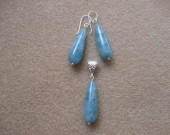 Angelite earrings and pendant set