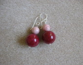 Jade and rhodonite earrings