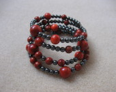 Sponge coral and hematite memory bracelet