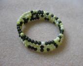 Lime jade and jasper memory bracelet