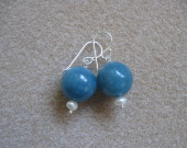Angelite and freshwater pearls earrings