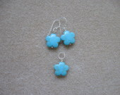 Turquoise earrings and pendant set