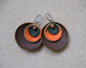 Leather and bayong wood earrings