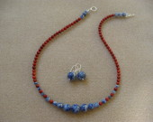 Sodalite and bamboo coral set