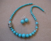 Turquoise and tibetan silver set