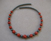 Sponge coral and hematite necklace