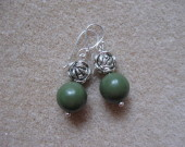 Jasper and tibetan silver earrings