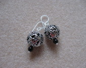Tibetan silver and onyx earrings