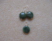 Canadian jade earrings and pendant set