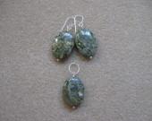 Ocean jasper earrings and pendant set