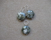 Ocean jasper earrings and pendant set