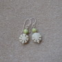 Chrysoprase and buri seeds earrings