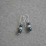 Hematite and freshwater pearls earrings
