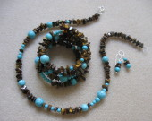Tiger eye and turquoise set
