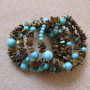 Tiger eye and turquoise memory bracelet