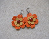 Leather, suede and carnelian earrings