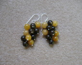 Honey jade and bronzite cluster earrings