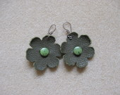 Leather and canadian jade earrings