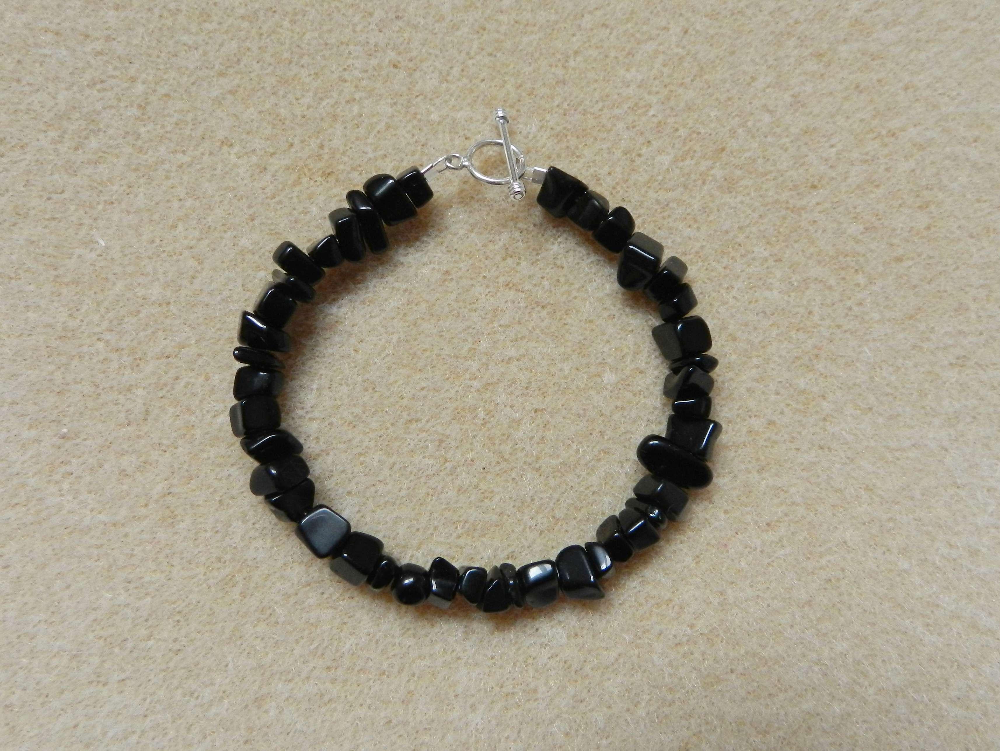 Black onyx chips bracelet