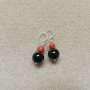 Onyx and sponge coral earrings