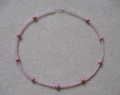 Seed beads and rhodonite necklace for girls