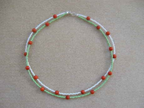 Seed beads and sponge coral necklace for girls