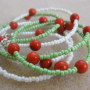 Seed beads and sponge coral necklace for girls detail