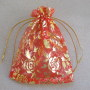 Red and gold organza bag