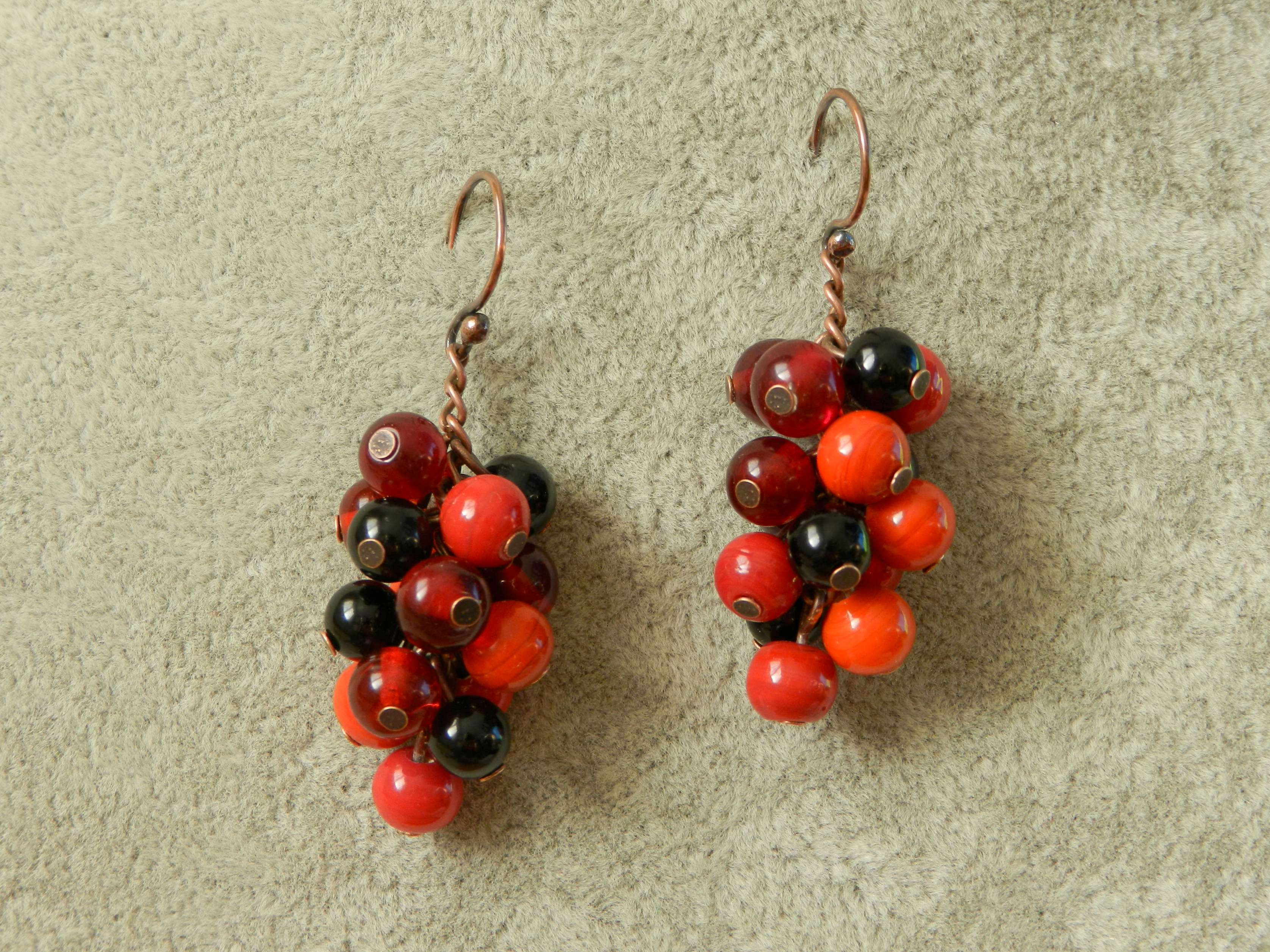 Vintage glass and black onyx cluster earrings
