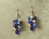 Vintage glass and freshwater pearls cluster earrings