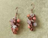Vintage glass, rhodonite and amethyst cluster earrings