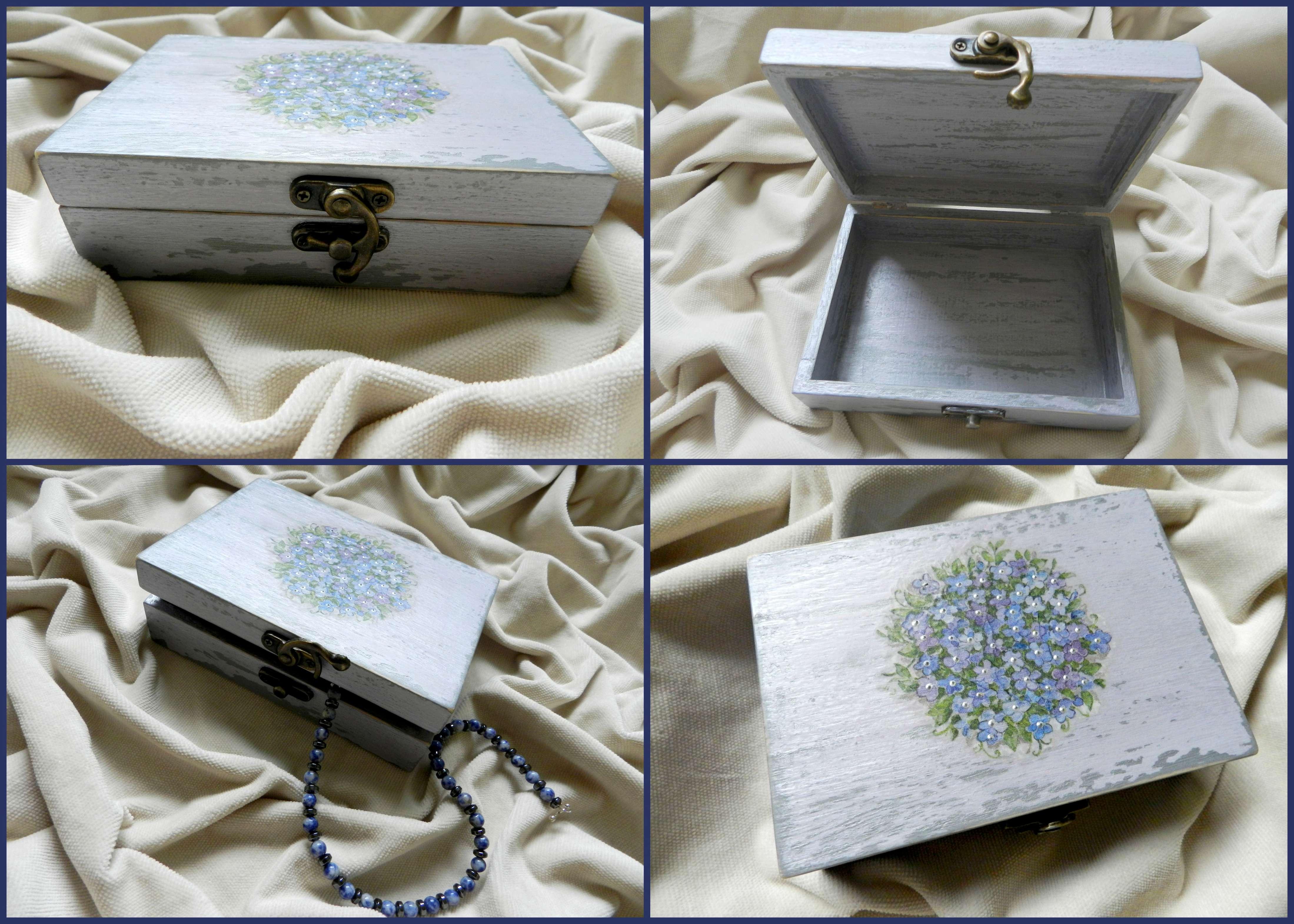 Decoupage technique jewelry box Forget me nots Handmade Studio