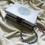 """Decoupage technique jewelry box - """"Forget me nots"""" (detail)"""