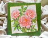 "Decoupage technique painting – ""Peach roses"""