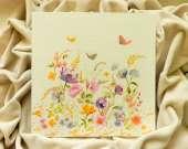 "Decoupage technique painting – ""Golden field of flowers"""