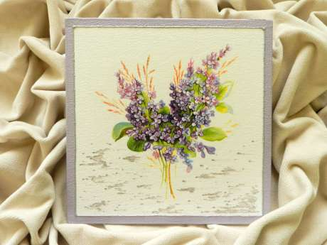 "Decoupage technique painting – ""Lilac flowers"""