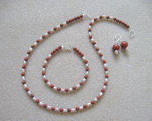 Red jasper and freshwater pearls set