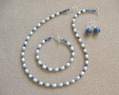 Sodalite and freshwater pearls set