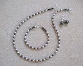 Hematite and freshwater pearls set