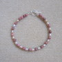 Rhodonite and freshwater pearls bracelet