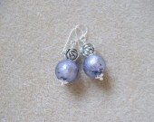Murano glass and tibetan silver earrings