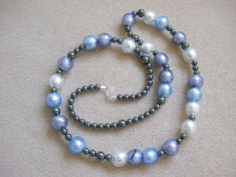 Murano glass and hematite necklace