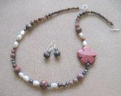 Jasper and freshwater pearls set